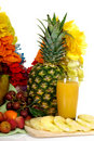 Fruit basket, pineapple juice Stock Image
