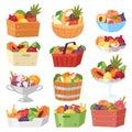 Fruit basket vector fruity apple banana and exotic papaya in box illustration fruitful set juicy orange with fresh Royalty Free Stock Photo