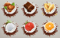 Fruit, berries and nuts. Milk and chocolate splashes, ice cream. vector icon set