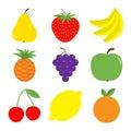 Fruit berry icon set. Pear, strawberry, banana, pineapple, grape, apple, cherry, lemon, orange. Fresh farm healthy food. Education