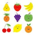 Fruit berry icon set. Pear, strawberry, banana, pineapple, grape, apple, cherry, lemon, orange. Smiling face. Fresh farm healthy f