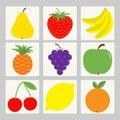 Fruit berry icon set. Square shape. Pear, strawberry, banana, pineapple, grape, apple, cherry, lemon, orange. Fresh farm healthy f