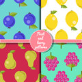 Fruit and berry seamless patterns set, summer patterns set Royalty Free Stock Photo