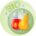 Fruit bio logo with apple and pear drops of pure water Royalty Free Stock Images