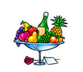 Fruit bowl gift illustration Stock Image