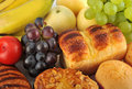 Fruit and bread Stock Photos