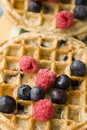 Fruit on Breakfast Waffles Stock Photo