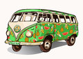 Fruit bus, vintage car, hippie transport with airbrushing. Green mini bus painted different fruits. retro vector illustra
