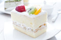 Fruit cake with cream mousse and shortbread Stock Photography