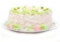 Fruit cake isolated delicious birthday on white Royalty Free Stock Photos