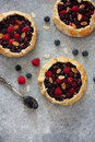 Fruit cakes galette with fresh berries