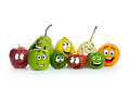 Fruit cartoon characters various on white background Royalty Free Stock Photo