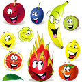 Fruit cartoon with many expressions on white background Royalty Free Stock Photo