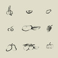 Fruit chinese brush icon set Royalty Free Stock Photography