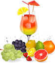 Fruit cocktail colorful orange and red with fresh Stock Photography