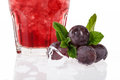 Fruit cocktail with grape berries of ice near closeup image Stock Image