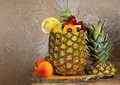 Fruit cocktail in pineapple Royalty Free Stock Photos