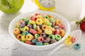 Fruit colorful sweet cereals in a bowl Royalty Free Stock Photo