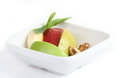 Fruit dessert red apple green apple pear banana nut Royalty Free Stock Photo