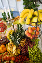 Fruit display with candles Royalty Free Stock Image