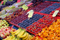 Fruit display in market Royalty Free Stock Image