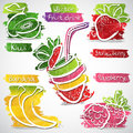 Fruit drink icons vector illustration of colorful icon collection Royalty Free Stock Photography