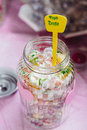 Fruit drops in a glass jar Royalty Free Stock Photo