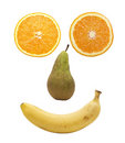 Fruit face over white Royalty Free Stock Photo