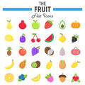 Fruit flat icon set, food symbols collection