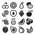 Fruit flat icons black set of about Stock Image