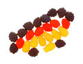 Fruit flavor snacks group a of colorful gummy chewy long lasting Stock Photo