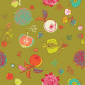 Fruit and flower background Royalty Free Stock Photo