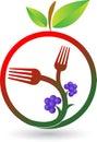 Fruit fork logo Royalty Free Stock Photo