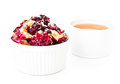 Fruit fresh crumble dessert in a white bowl tasty Royalty Free Stock Photo