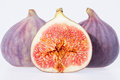 Fruit of fresh figs isolated on white background some Stock Images