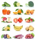 Fruit fruits and vegetables collection isolated apple orange gra Royalty Free Stock Photo