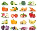 Fruit fruits and vegetables collection isolated apple orange lem Royalty Free Stock Photo