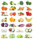 Fruit fruits and vegetables collection isolated apple orange lemon salad grapes colors tomatoes Royalty Free Stock Photo