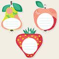Fruit gift tags summer in the shape of apple pear and strawberry some blank space for your text included Royalty Free Stock Photography