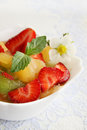 Fruit ice cream with and fresh strawberries Stock Image
