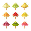 Fruit ice cream icon set. Slices of lemon, kiwi, orange, pomegranate, grapefruit, lime, watermelon, melon, on sticks Royalty Free Stock Photo