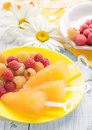 Fruit ice cream yellow raspberry with mixed berries raspberries on a plate on the background of large daisies. Close-up. Royalty Free Stock Photo