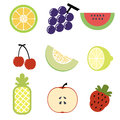 Fruit icon pastel cartoon kid and sign Stock Image