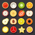Fruit icon set on black background Stock Image