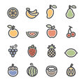 Fruit icon set, flat line version, vector eps10 Royalty Free Stock Photo