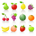 Fruit icons Stock Photography