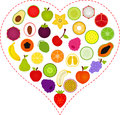 Fruit icons inside a Heart Stock Images