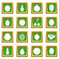 Fruit icons set green