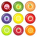 Fruit juice bottle caps Royalty Free Stock Photos