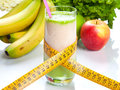 Fruit juice diet and fitness in a glass with a meter Stock Photo